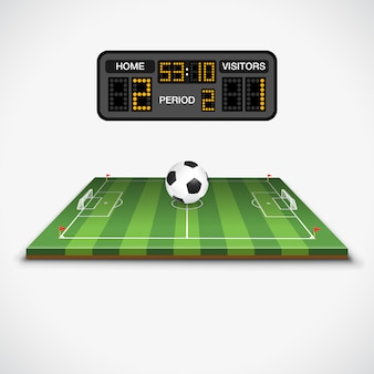 サッカー場、ボール、スコアボード