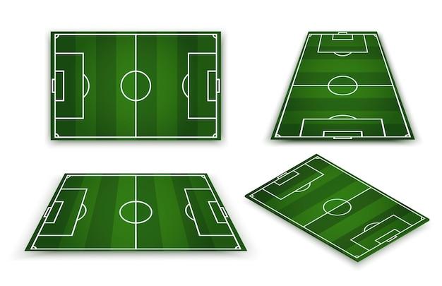 サッカー場、ヨーロッパサッカースタジアム。遠近法の要素。スポーツゲームのグリーンコート。