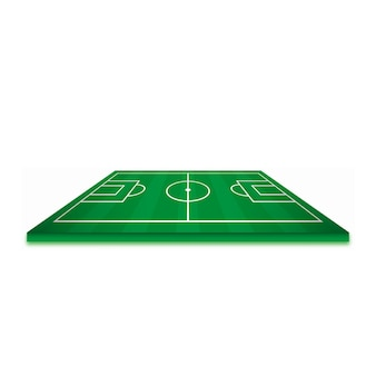 Soccer field or football field isolated on white background. perspective elements