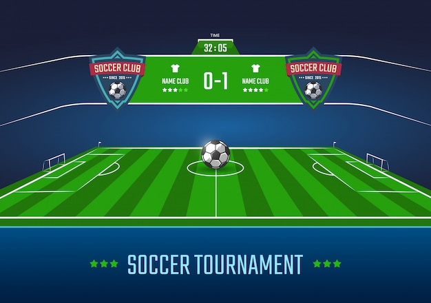 Soccer field in horizontal perspective with scoreboard illustration