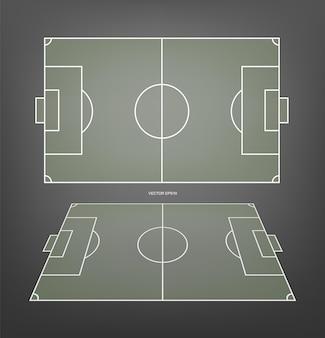 サッカー場またはサッカー場の背景とサッカーライン。サッカーゲームを作成するための緑の芝生のコート。ベクトルイラスト。
