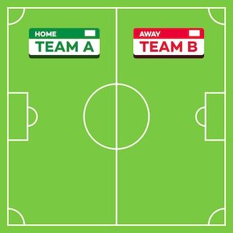 Soccer field and score board vector illustration