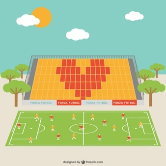 Soccer field with players