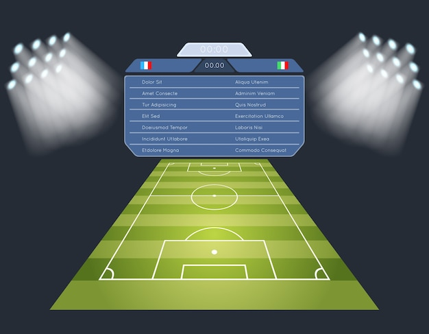 スコアボードとサッカー場。照明スポーツサッカーゲームスタジアム。