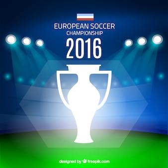 ユーロ2016のスポットライトの背景を持つサッカー場