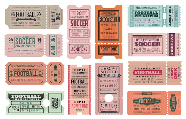 Soccer or football admit one ticket templates