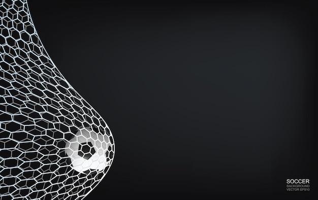 コピースペースのための領域と暗い背景のサッカーサッカーボールとサッカーネット。ベクトルイラスト。