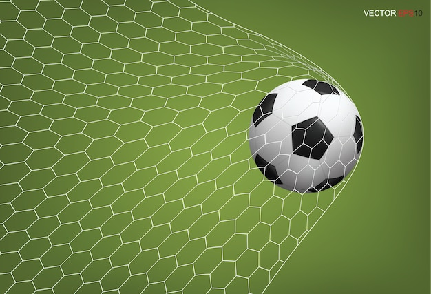 Soccer football ball in goal and white net