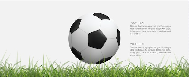 Soccer football ball on green grass field and light blurred bokeh background