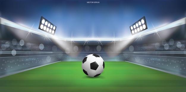 Soccer football ball on green grass of soccer field stadium background. vector illustration.