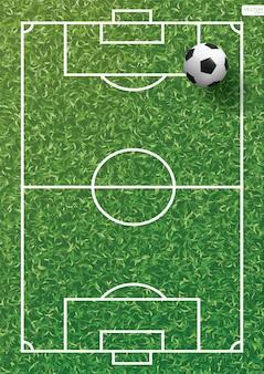 Soccer football ball on green grass of soccer field.