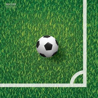 緑の草のパターンのテクスチャ背景とサッカー場のコーナーエリアにサッカーサッカーボール。ベクトルイラスト。