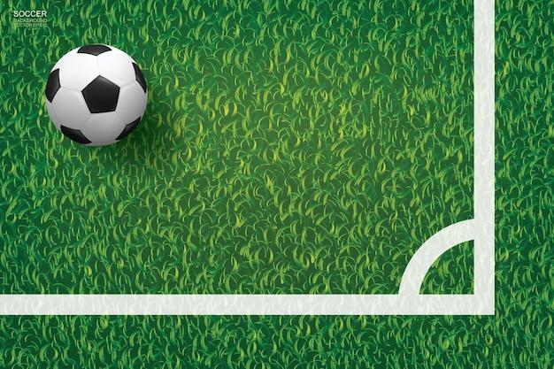 Футбольный мяч футбола в угловой области футбольного поля с предпосылкой текстуры картины зеленой травы. векторная иллюстрация.