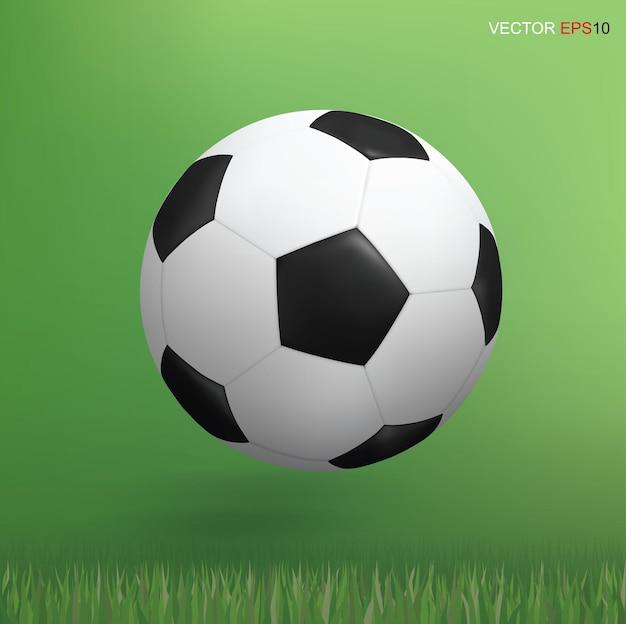 緑の芝生エリアの背景にサッカーサッカーボール。ベクトルイラスト。