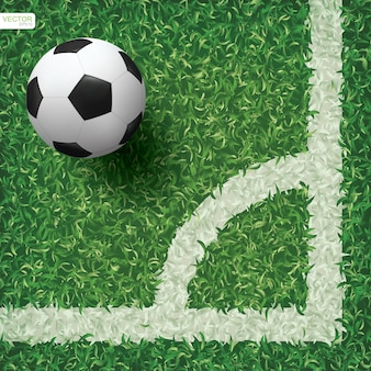 Футбольный мяч на фоне зеленой травы.