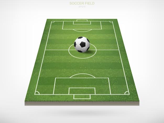 Soccer football ball in soccer field.
