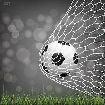 Soccer football ball in soccer goal.
