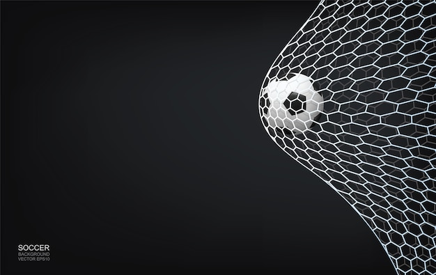 Soccer football ball and soccer net on dark background with area for copy space.