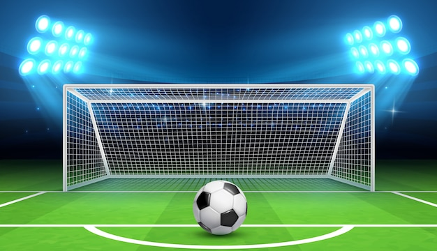 Soccer football championship  background with sports ball and goals.