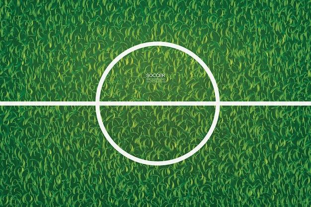 Предпосылка футбольного поля футбола с областью центральной линии. векторная иллюстрация.