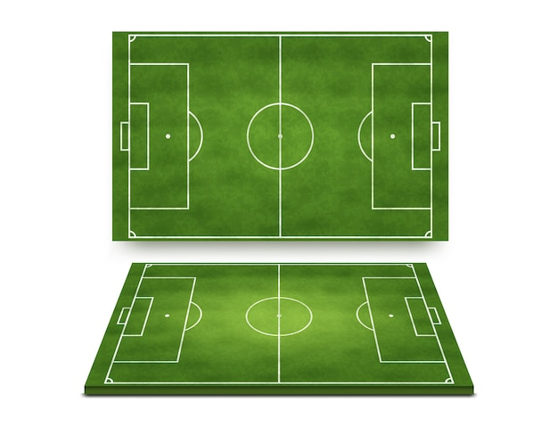 Soccer football field collection top and perspective view isolated on white background