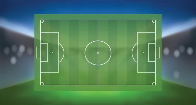 スポーツスタジアムの明るいぼやけた背景を持つサッカーサッカー場。ベクトルイラスト。