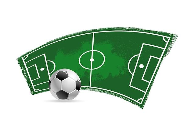 サッカーサッカーの汚れた競技場または緑のペンキのブラシストロークのエッジを持つピッチ