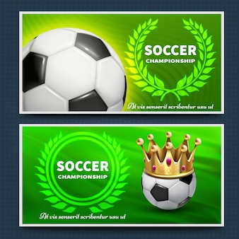 Soccer football league vector announcement posters set. soccer game poster tournament, championship banner illustration