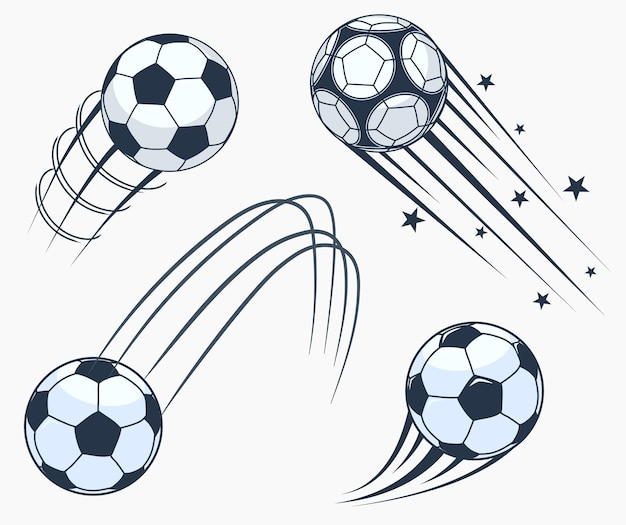 Soccer football moving swoosh elements, ball with motion trails, dynamic sport sign, sporting emblems design.