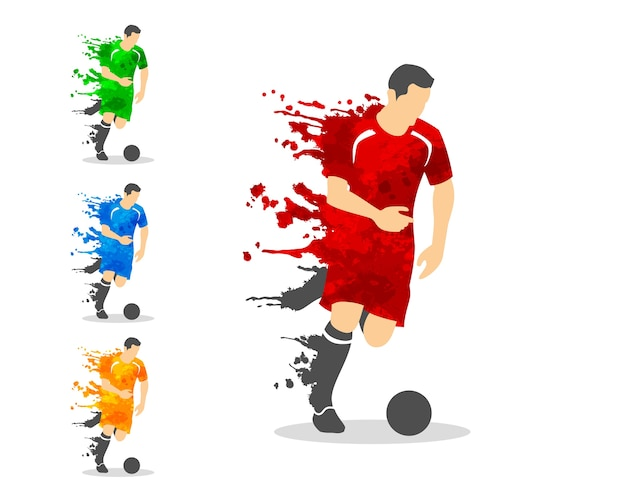 Soccer or football player in an action with splash splat and watercolor