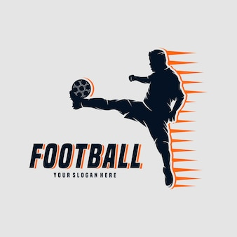 Soccer and football player man logo design