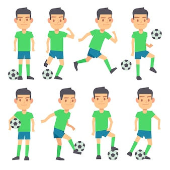 Soccer, football players playing ball set of flat characters. Forward defender and midfielder