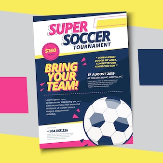 Soccer football poster print template