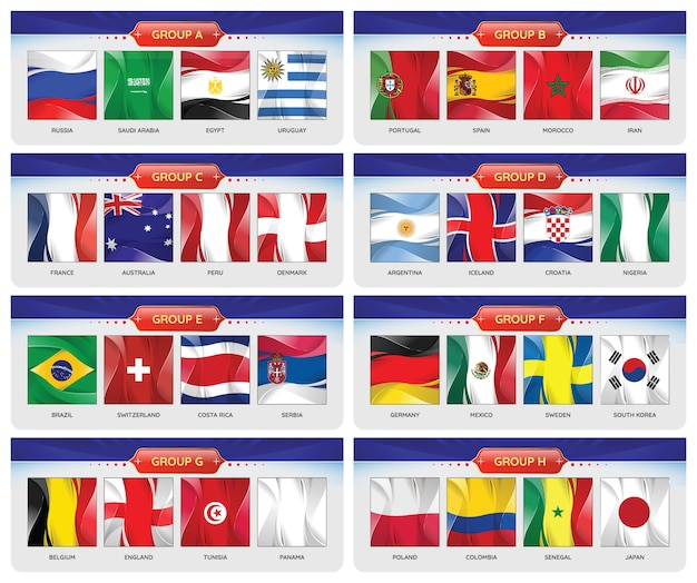 Soccer or football set of national flags team group