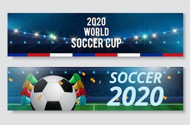 Soccer or football sport game banner set