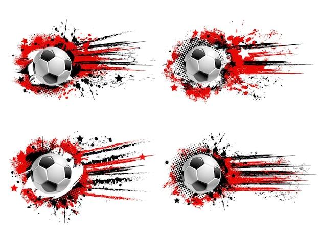 サッカーサッカースポーツグランジバナー。飛んでいるサッカーボール、赤と黒のペンキのはね