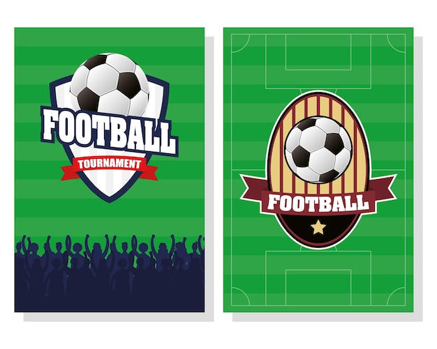 Soccer football sport poster with shields