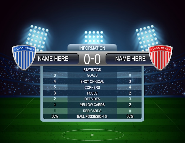 Soccer football stadium and scoreboard. vector illustration