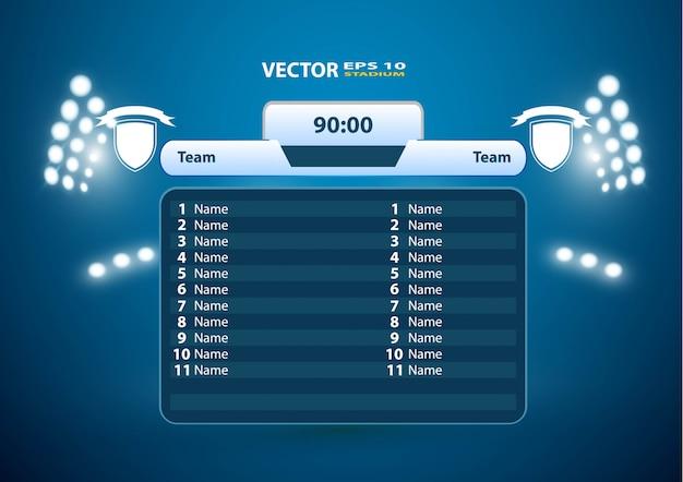 Soccer football stadium spotlight and scoreboard background