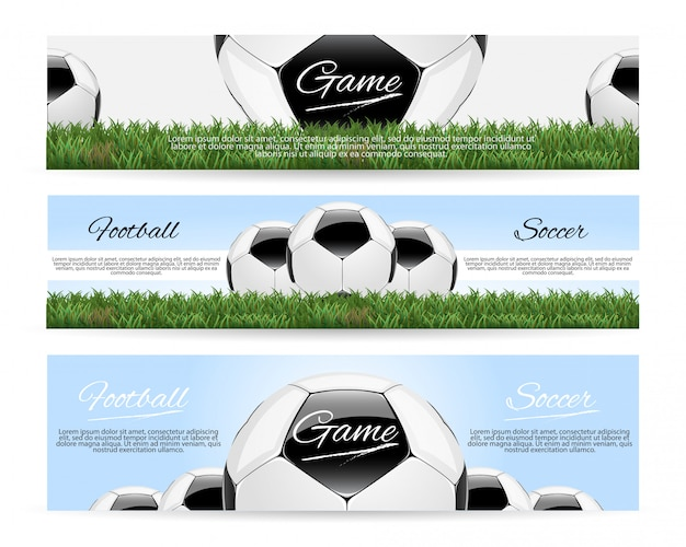 Soccer or football with 3d ball and scoreboard banner