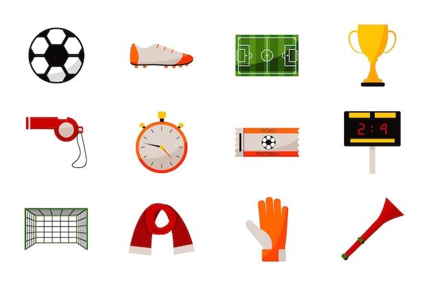 サッカーゲーム機器、サッカースタジアム、アワードアイコンセット。スポーツユニフォームアクセサリー、スコアボード、ボール、チケット、審判のストップウォッチと笛、白い背景で隔離のファンパイプベクトル図
