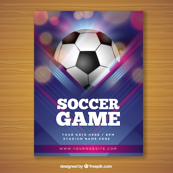 Soccer game flyer in realistic style