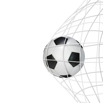 ネットのボールとサッカーゲームの試合のゴールの瞬間。