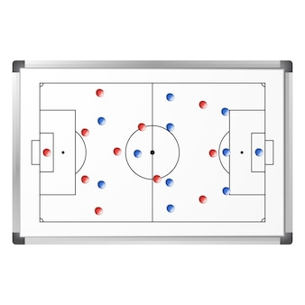 Soccer game tactical scheme shown on the whiteboard with blue and red magnets