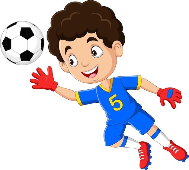 축구공을 잡으려고 점프하는 축구 골키퍼