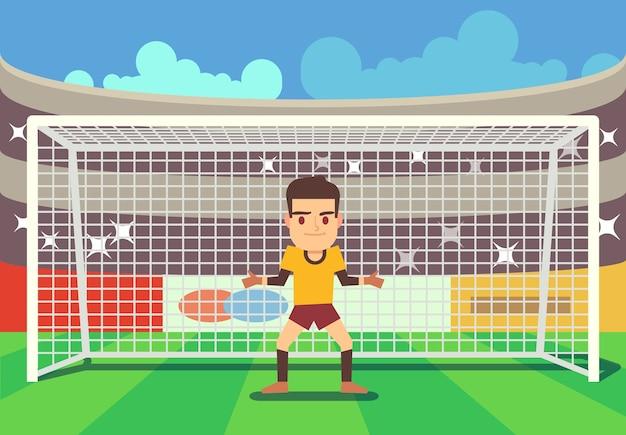 Soccer goalkeeper keeping goal on arena