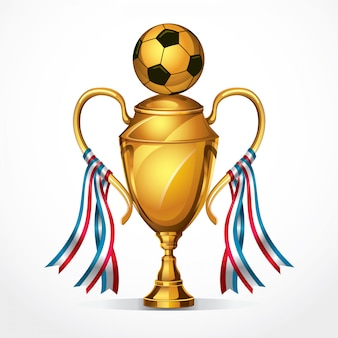 Soccer golden award trophy and ribbon. vector illustration