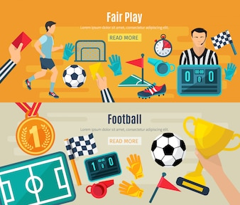 Soccer horizontal banner set with fair football play elements isolated