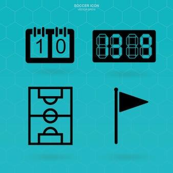 サッカーアイコンセット。抽象的なサッカーのサインとシンボル。ベクトルイラスト。