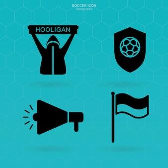 サッカーアイコンセット。サッカーファンクラブのサインとシンボル。ベクトルイラスト。